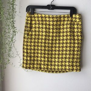 The Limited - yellow and brown houndstooth skirt